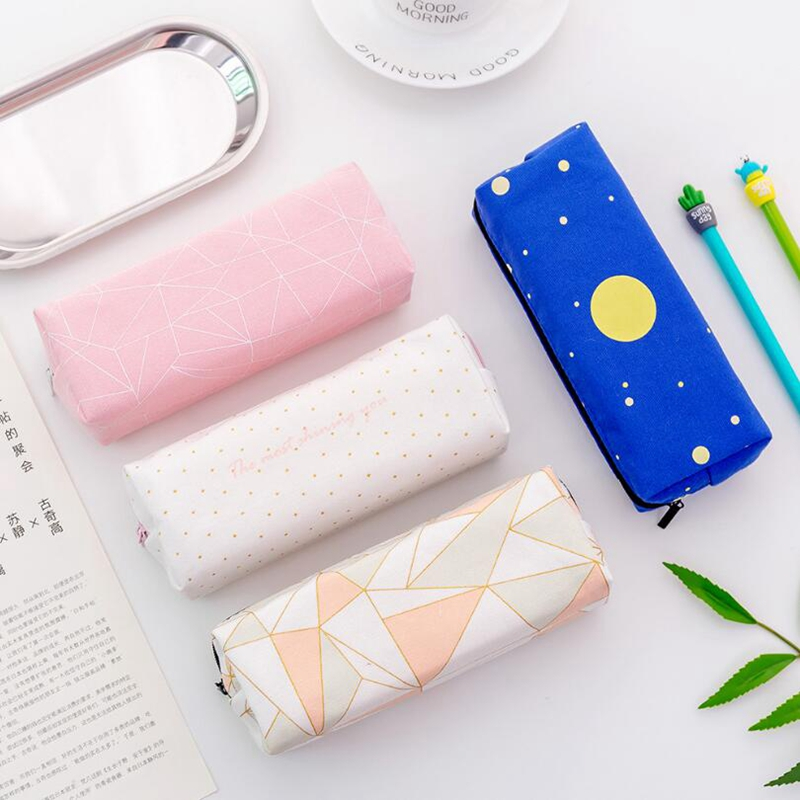 New Canvas Starry Sky Geometric Pencil Case School Pencil Cases For Girl Stationery Canvas Pencil Bag School Supply Student Gift