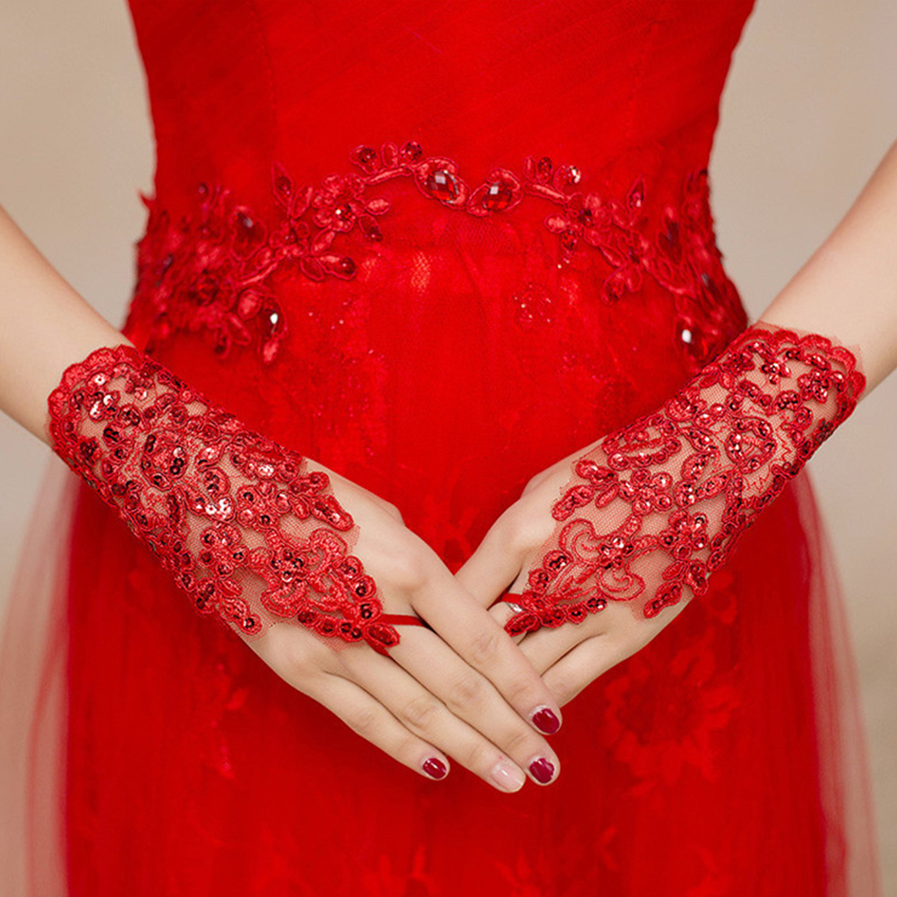 1 Pair Elegant Gloves Short Bridal Wrist Party Rhinestone Fingerless Lace Arm Evening Accessories