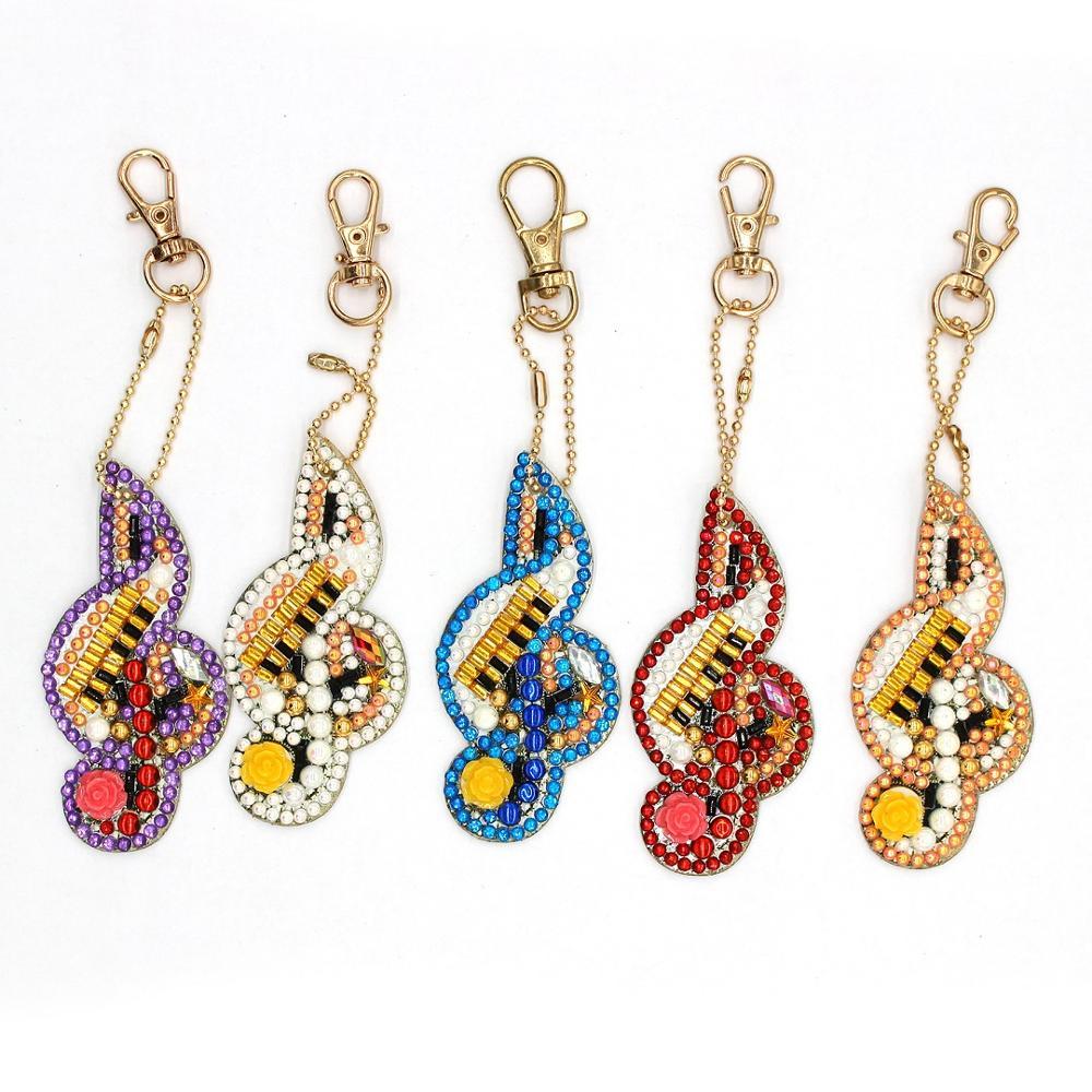 Musical Note Diamond Painting Kits Keychain Keyring Diamond Mosaic Bag Pendant Ornament Kids Drawing with Diamonds