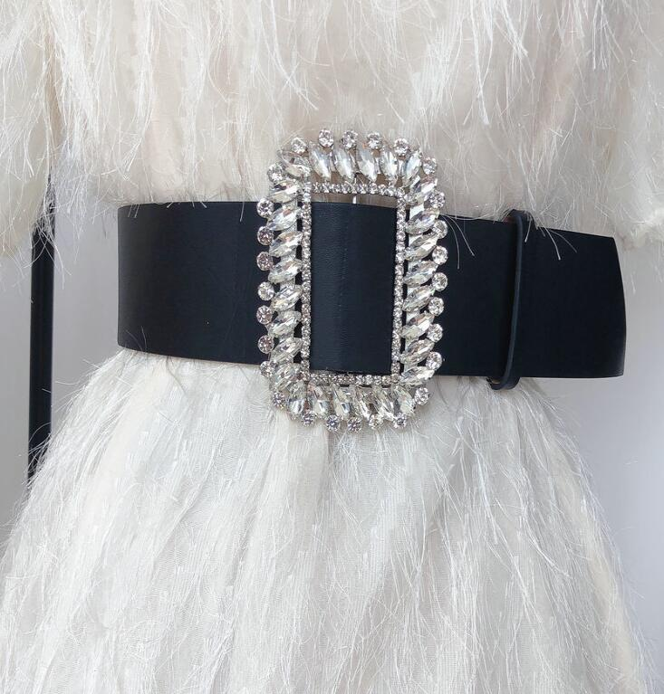 Women's Runway Fashion Diamond Pu Leather Cummerbunds Female Dress Coat Corsets Waistband Belts Decoration Wide Belt R1738