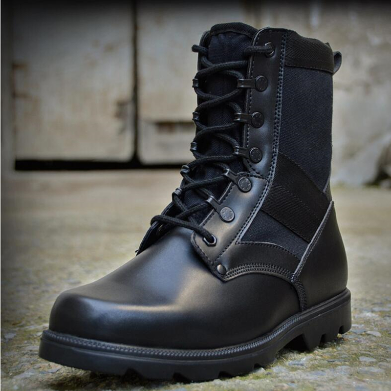 Leather Boots Men Fall Black Work Shoes