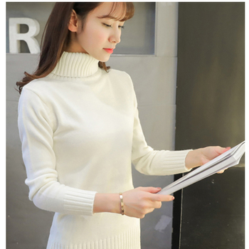 2020 New Autumn winter Women Knitted Sweaters Pullovers Turtleneck Long Sleeve Solid Color Slim Elastic Short Sweater Women