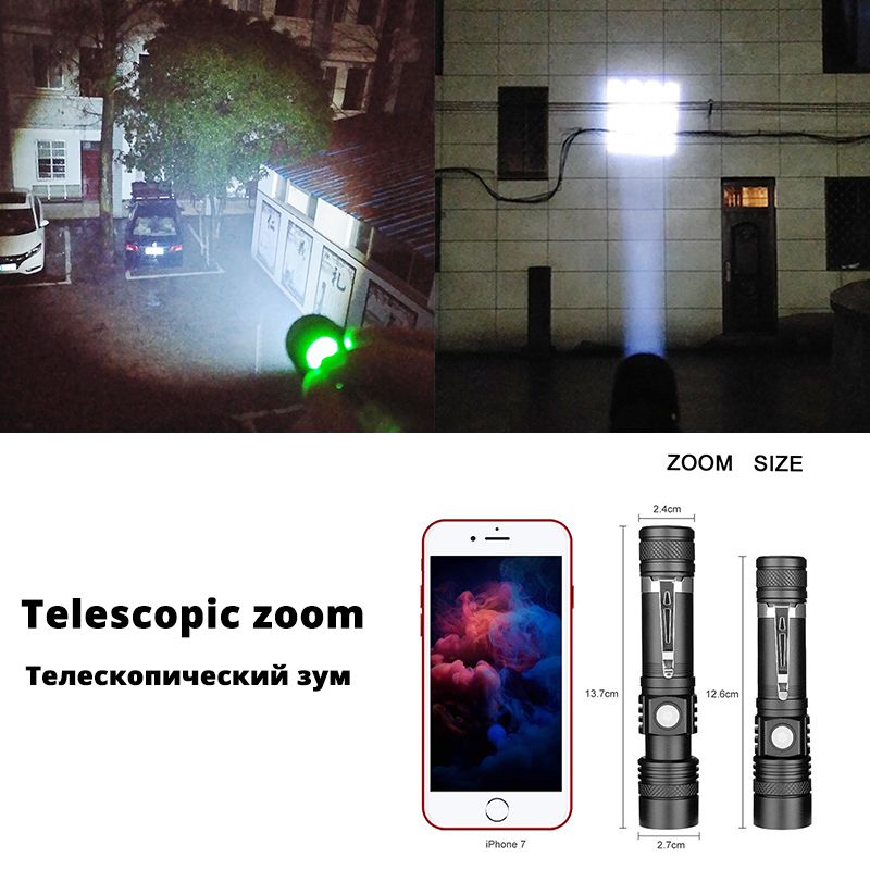 Image 4 - Ultra Bright LED Flashlight With XP L V6 LED lamp beads Waterproof Torch Zoomable 4 lighting modes Multi function USB charging-in LED Flashlights from Lights & Lighting