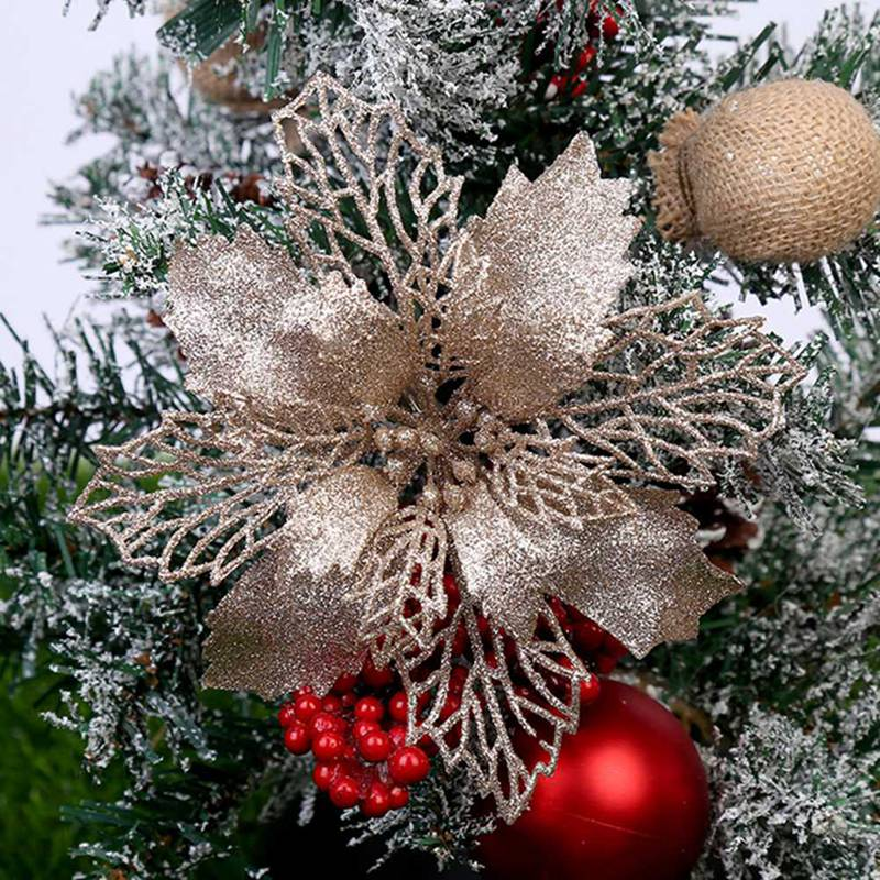 16cm 5 Pcs/Pack Glitter Flowers For Christmas Tree Hollow Artificial Flower For Wedding Party Xmas Decoration Colorful Ornament