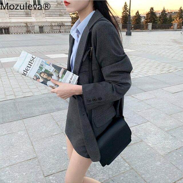 Mozuleva 2020 Retro Solid Blazer Set Single-breasted Jacket & Pencil Skirt 2 Pieces Skirt Suit Female Office Ladies Blazer Suit 4