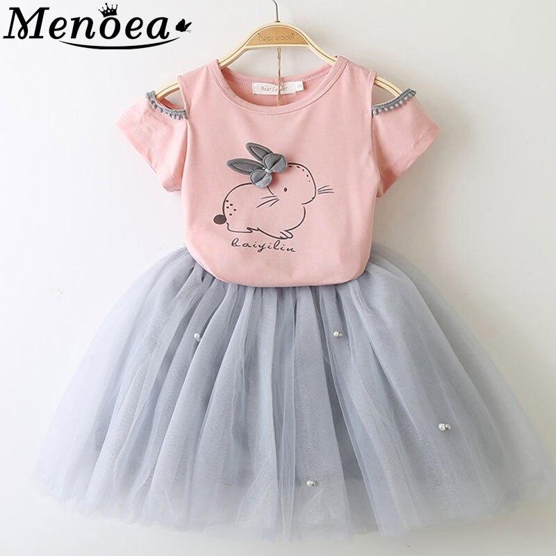 Menoea 2017 outono nova meninas do bebê conjuntos de roupas de moda estilo gatinho dos desenhos animados impresso t-shirt + véu líquido dress 2 pcs roupa das meninas