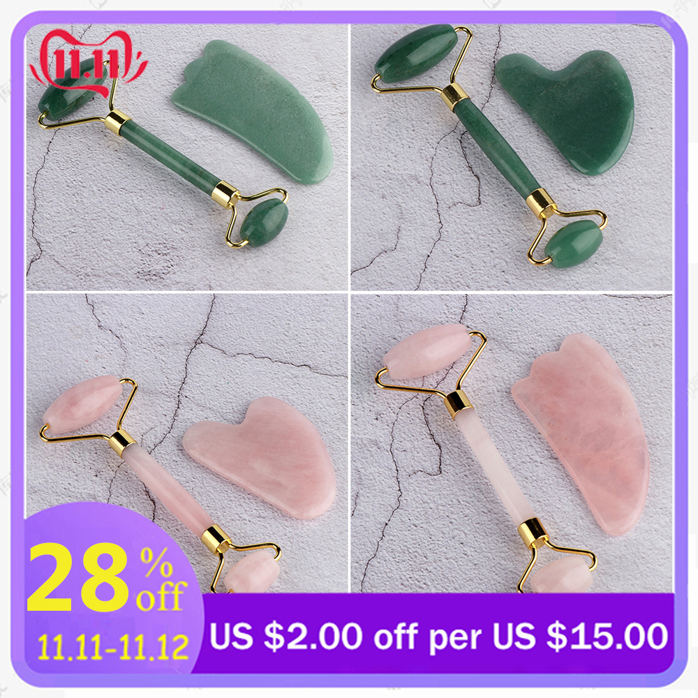 Natural Jade Facial Massage Roller Stone Rose Quartz Roller Slimming Face Massager Lifting Tool Skin Massage Beauty Care Set Box