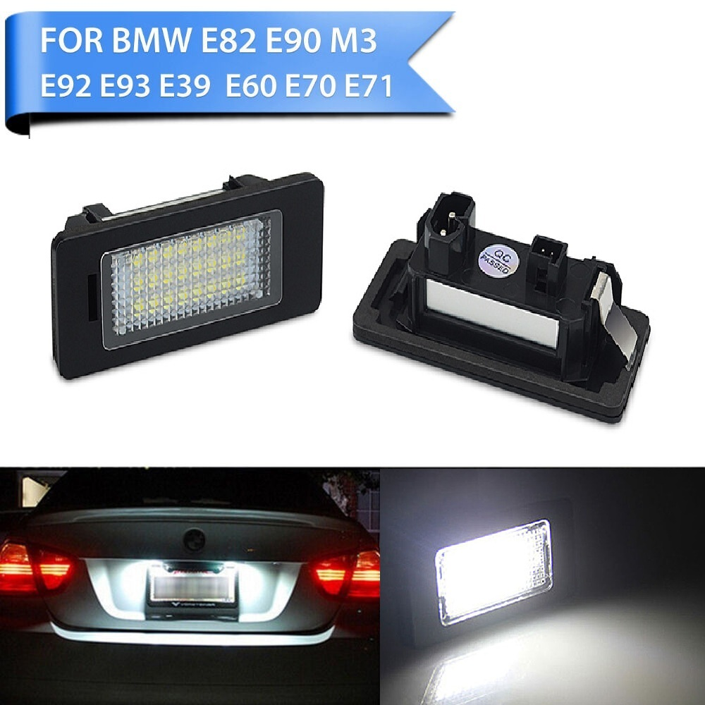 Bộ 2 Tấm Chắn Ánh Sáng LED Biển Số Giá Đỡ Đèn Không Có Lỗi Cho Xe BMW E39 E60 E60N E61 E90 E91 e90N E92 E93 E46 CSL E82