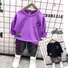 Toddler Clothes-Sets Jeans Suit Sweater Spring Boys Children Cotton 2pcs Reflective Autumn