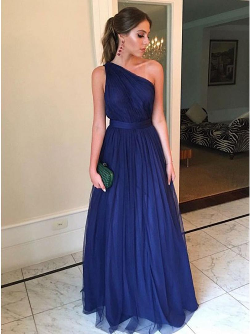 Formal Dress One Shoulder Navy Blue Prom Dresses 2019 Simple Style Vestidos Robe De Soiree Floor Length Evening Dress For Women
