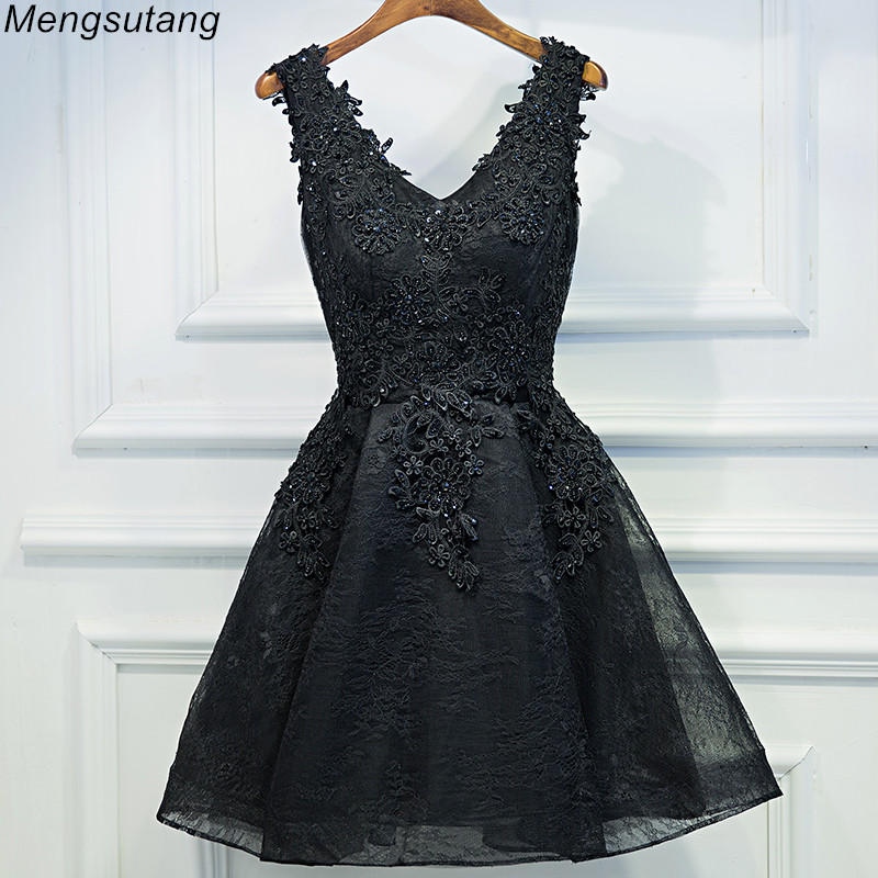Robe De Soiree 2020 Black Elegant Pearl Black Lace Evening Dresses Short V-Neck Appliques Beading Graduation Party Prom Dress