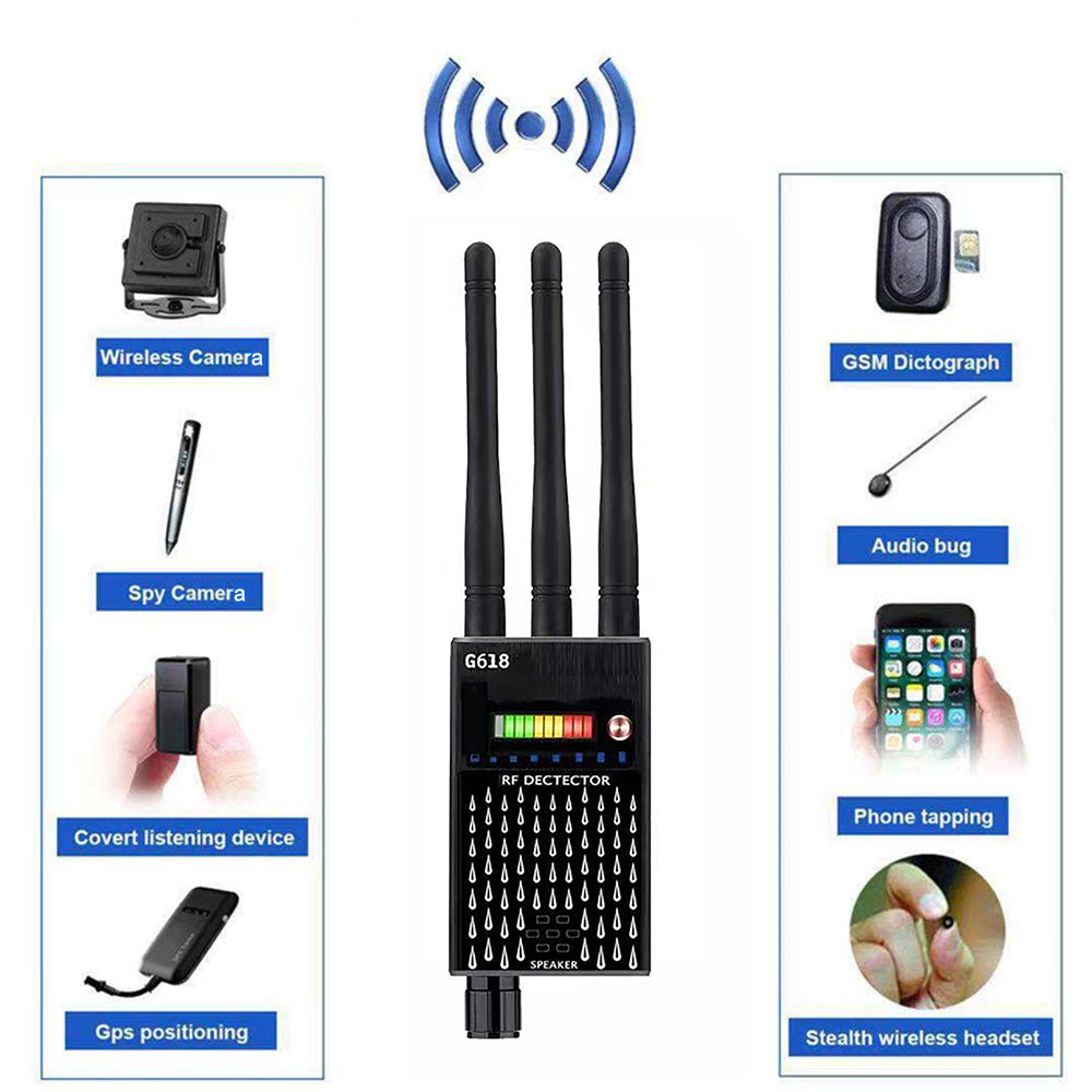 Three Antennas RF Signal Hidden Camera Detector Pinhole Button Camera Detector Audio Bug GPS GSM Device Tracker