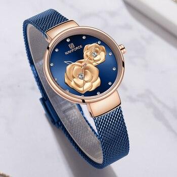 Женские часы с цветами NAVIFORCE Relogio Feminino Montre Femme