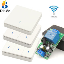 Interruptor de luz de pared de 433Mhz 86 interruptor de mando inalámbrico de radiofrecuencia inteligente receptor de relé de 110V 220V 2200W, para lámpara de techo \ bombilla LED