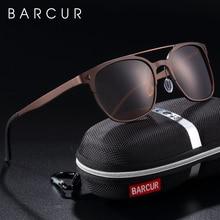 BARCUR Aluminium Magnesium Sunglasses Retro Steampunk Round glasses Men Polarized Male Sun glasses for Men UV400 Oculos de sol