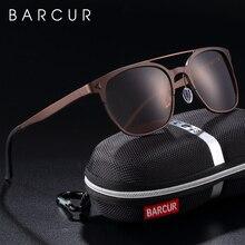 BARCUR alüminyum magnezyum güneş gözlüğü Retro Steampunk yuvarlak gözlük erkekler polarize erkek güneş gözlüğü erkekler için UV400 Oculos de sol