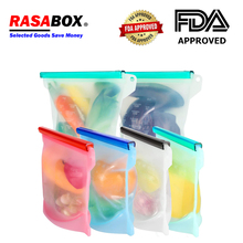 RASABOX - Food Storage & Organization Sets, Reusable Silicone Bags, Freezer for Snack Lunch Sandwich, Preservation Locked Bag