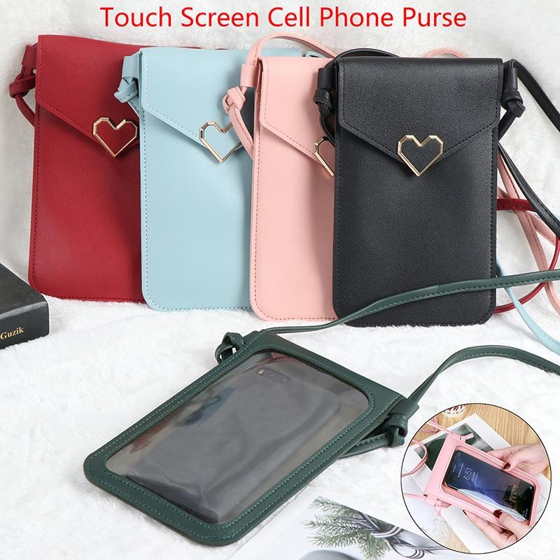 Touch Screen Cell Phone Purse Smartphone Wallet Leather Shoulder Strap Handbag Women Bag