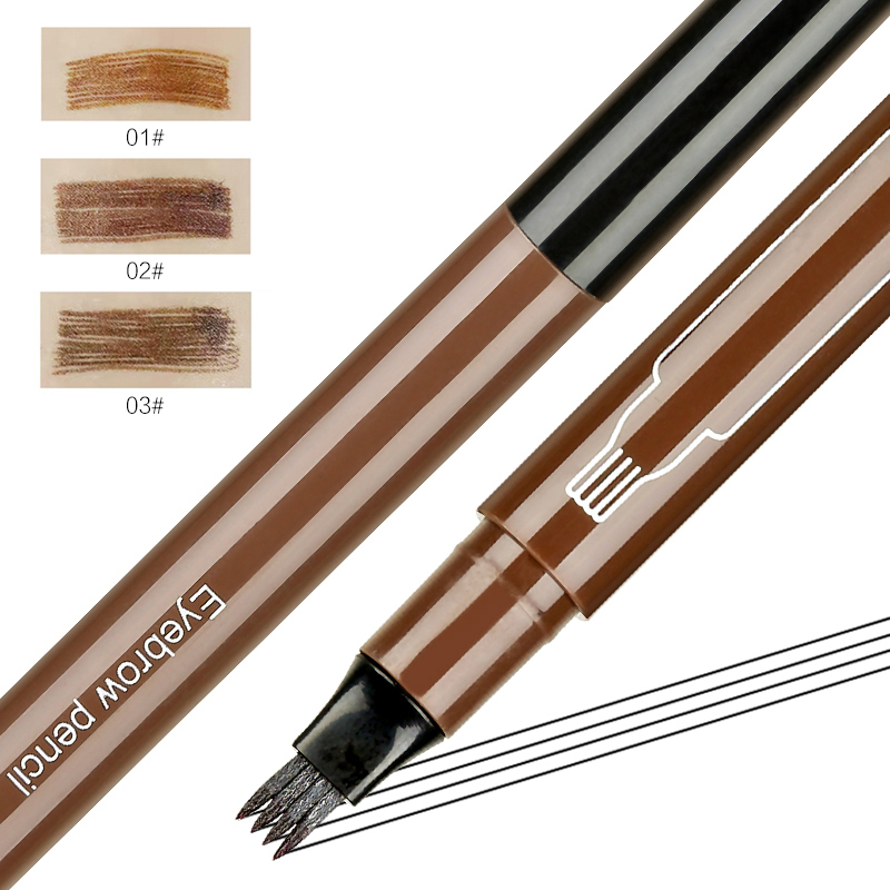 3 Colors Microblading Tattoo Eyebrow Pencil Waterproof Fork Tip 4 Head Eye Brow Pencils Eye Liner Beauty Makeup Tools TSLM1(China)