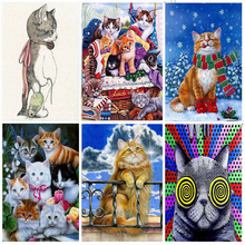 Diamond Mosaic Embroidered Cute Cat Pattern Hobbies Crafts Full Drill Round  5D DIY Painting Animal Home Decoration Gift
