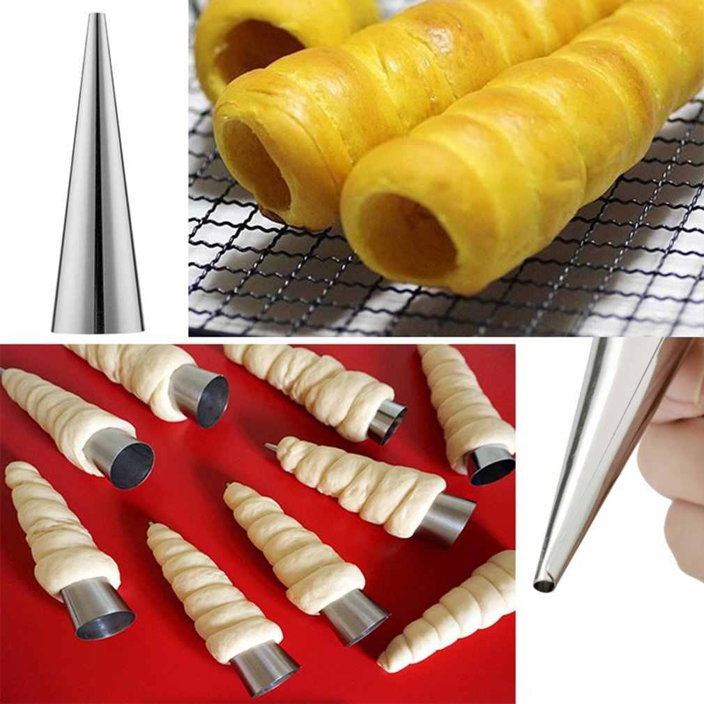 9 CENTÍMETROS Cones de Cozimento de Aço Inoxidável Espiral Tubos Chifre pão Croissant Pastelaria Molde Do Bolo Hom Cozinha Suprimentos de Cozimento