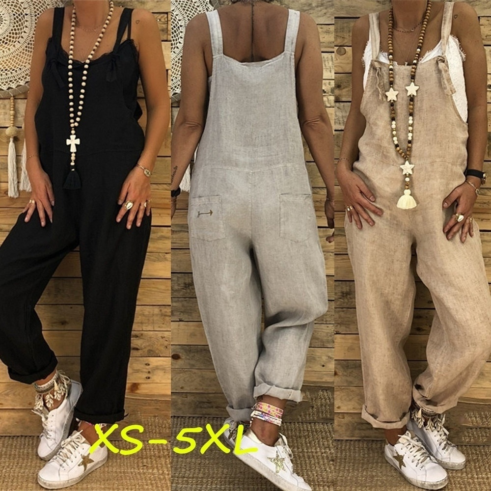 ZOGAA Women's Casual Jumpsuit Overalls Baggy Bib Pant Wide Leg Rompers Loose Sleeveless Female Overalls Streetwear Plus Size 5XL