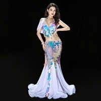 THE Deluxe Little Mermaid Sequin Belly Dance Costume Bra Long skirt Sexy Halloween Hot Ariel Long Dress Suit