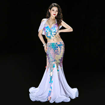 THE Deluxe Little Mermaid Sequin Belly Dance Costume Bra Long skirt Sexy Halloween Hot Ariel Long Dress Suit - DISCOUNT ITEM  21% OFF All Category