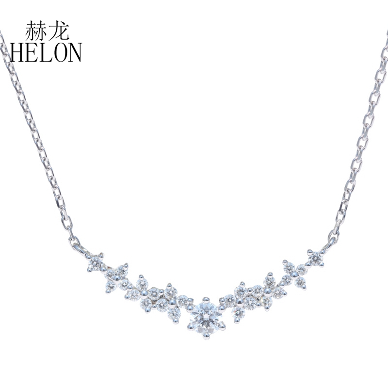 HELON Solid 18K Rose Gold Round 0.28ct Natural Diamonds Engagement Wedding Necklace...