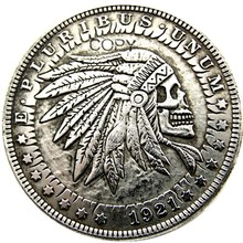 HB(25) США Хобо 1921 Морган доллар Череп Зомби Скелет Посеребренная копия монет