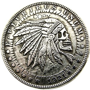 HB(25)US Hobo 1921 Morgan Dollar skull zombie skeleton Silver Plated Copy Coins(China)