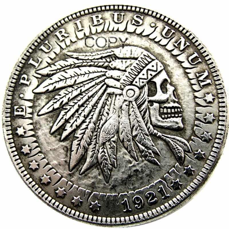 Hb (25) Ons Hobo 1921 Morgan Dollar Skull Zombie Skeleton Verzilverd Kopie Munten