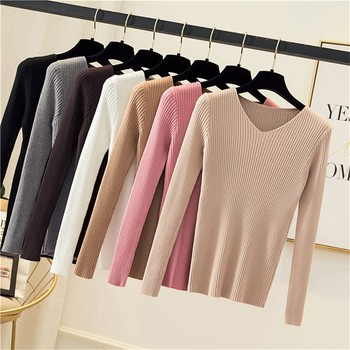 DeRuiLaDy 2019 Fall Winter Women Sweater Fashion Slim Sweaters Wild Vintage Knitted V-Neck Soft Warm Pink Pullover Sweater Tops