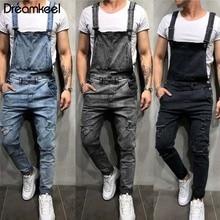 Мужские джинсовые комбинезоны Carpenter, повседневные штаны, свободные штаны, нагрудник, мужская мода, хип-хоп комбинезон, нагрудник, бренд Dreamkeel Y