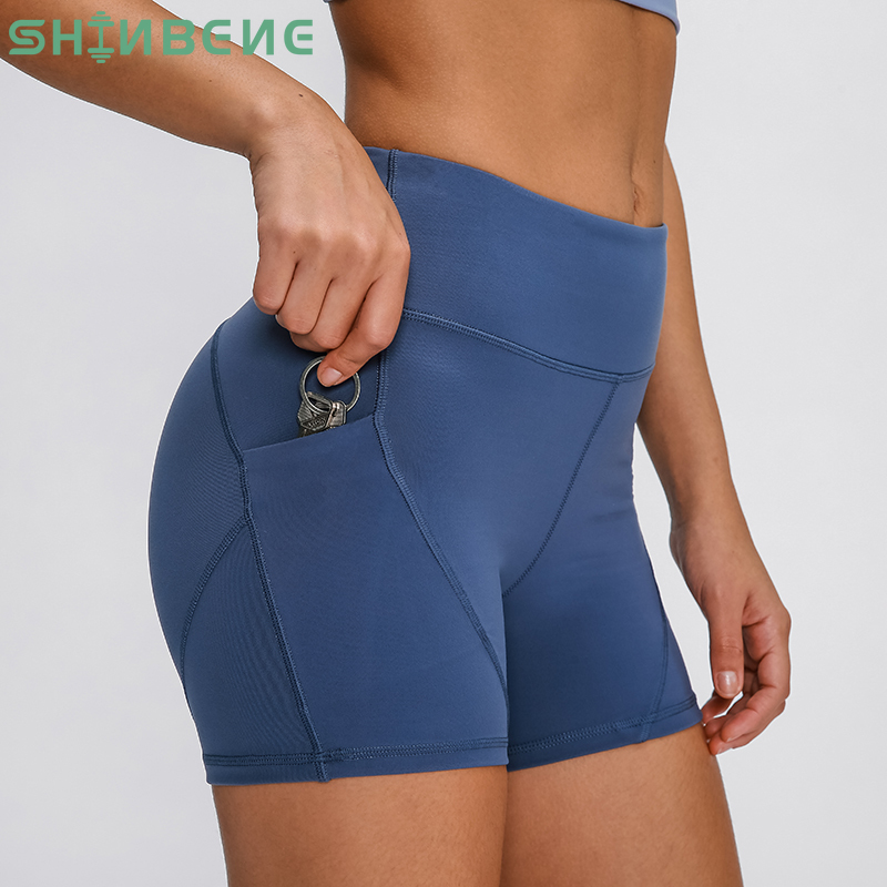 SHINBENE Anti-sweat Plain Sport Athletic Shorts Women High Waisted Soft Cotton Feel Fitness Yoga Shorts With Two Side Pocket