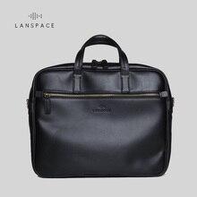 цена на LAN Free shipping men's genuine leather briefcases cow leather leisure business handbag high grade messenger bag