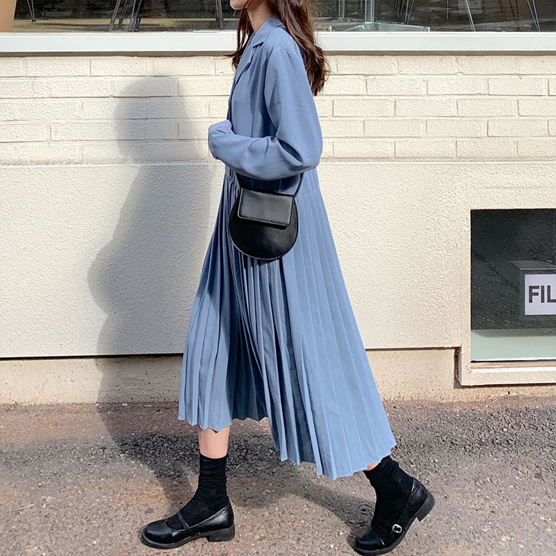 3 Colors 2019 Autumn Korean Preppy Style Long Sleeve Vintage Dresses Womens Notched Collar Long Pleated Dress Womens  (X1032)