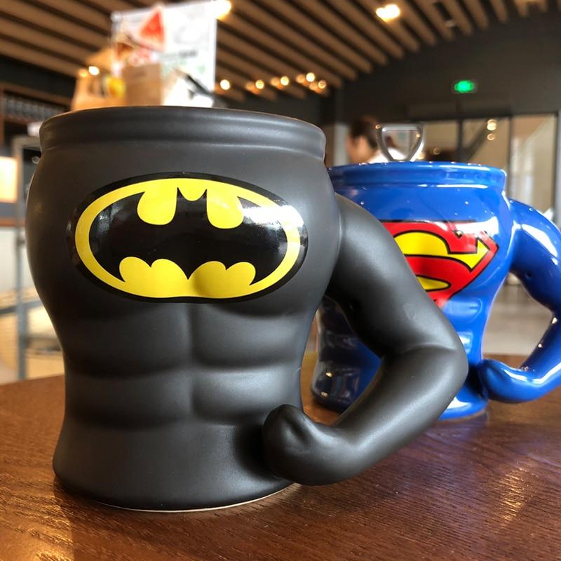OUSSIRRO Superman hero macho creative modeling ceramic glass coffee mug send boyfriend fitness gift in Mugs from Home Garden