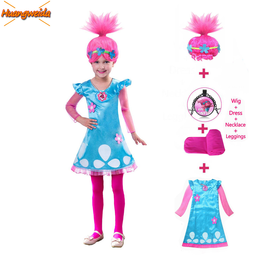 Girls Trolls Poppy Costume Girl Dresses Anime Cosplay Costumes For Kids Halloween Carnival Christmas Party Fancy Dress Outfit