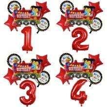 6 pçs estrela vermelha feliz aniversário trem folha balões conjunto 30 polegada número balão crianças festa de aniversário decoração do chuveiro do bebê globos de ar