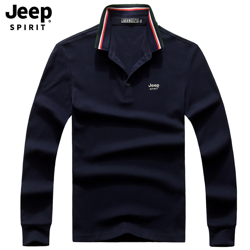 JEEP SPIRIT Brand   Polo   Shirt Men Casual Cotton Long Sleeve Turn Down Collar Men   Polo   Shirt M-XXXL Tee Shirt Homme