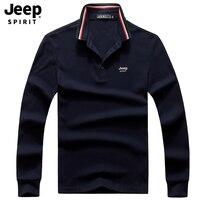JEEP SPIRIT Brand Polo Shirt Men Casual Cotton Long Sleeve Turn Down Collar Men Polo Shirt M XXXL Tee Shirt Homme