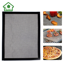 Reusable Non-stick BBQ Grill Net Baking Pad Grid Shape BBQ Mat For Oven Microwave Outdoor Picnic Heat Resistance Barbecue Mat цена и фото