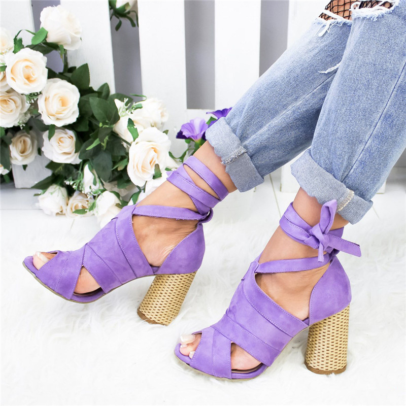 Litthing Women Pumps Ankle Cross Strap Sandals Shoes Woman Ladies Pointed Toe 2019 High Heels Dress Party Shoes Zapatos Mujer