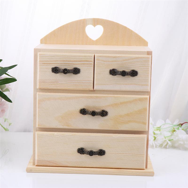 Diy Wooden Multifunctional Drawer Jewelry Box Handmade Jewelry Organizer Kids Jewelry Box Diy Craft Storage Aliexpress