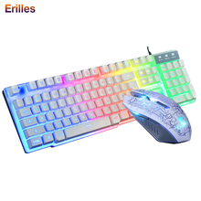 цена на Waterproof USB Wired Keyboard Computer PC Backlight Gaming Keyboard Mouse Combos 1600dpi Mouse Mechanical Game Set Dropshipping