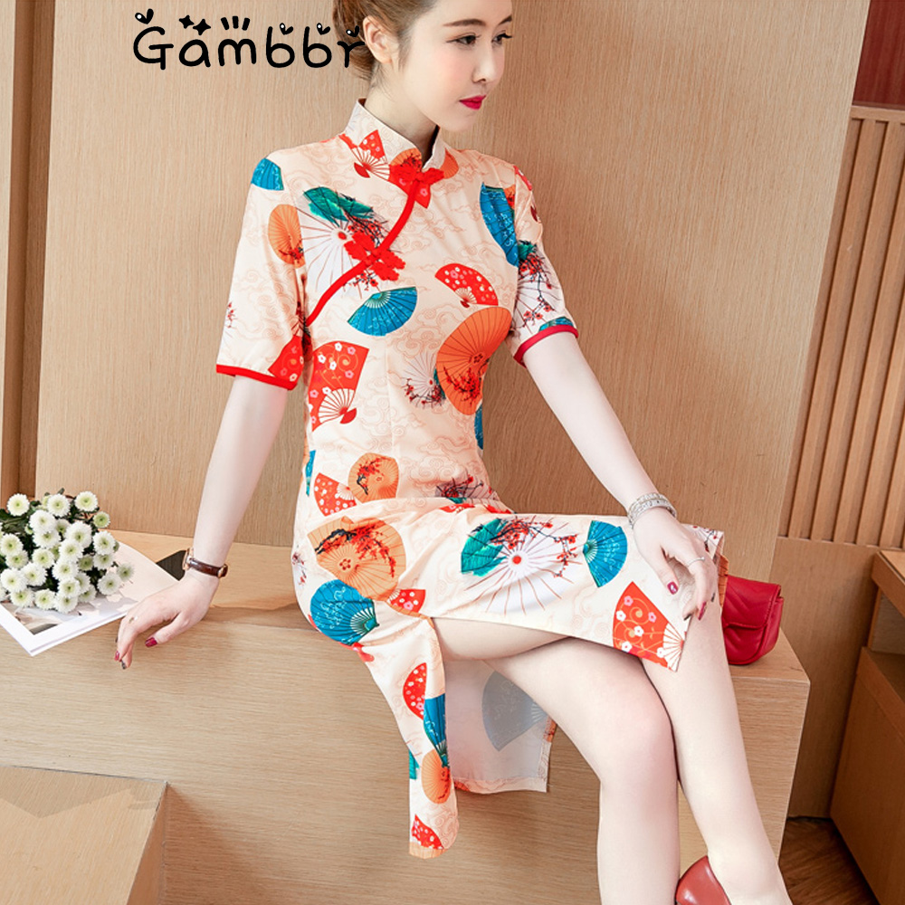 Elegant Improved Cheongsam Qipao Dress Chinese Traditional Dress For Women Short Sleeve Summer Thin Sweet Girl Qi Pao Plus Size