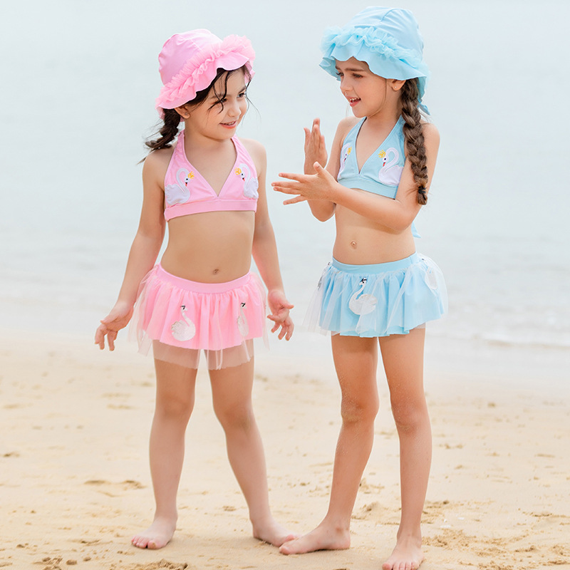 KID'S Swimwear GIRL'S Girls Split Type Cute Princess Dress-Sweet Bikini Swan CHILDREN'S Swimsuit Baby