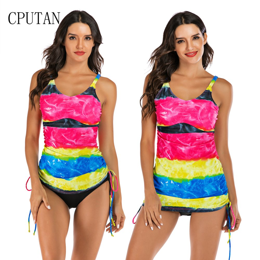 Swimwear Bikini Tankini-Set Beach-Wear Two-Piece Push-Up Sport Plus-Size Women S-XXL