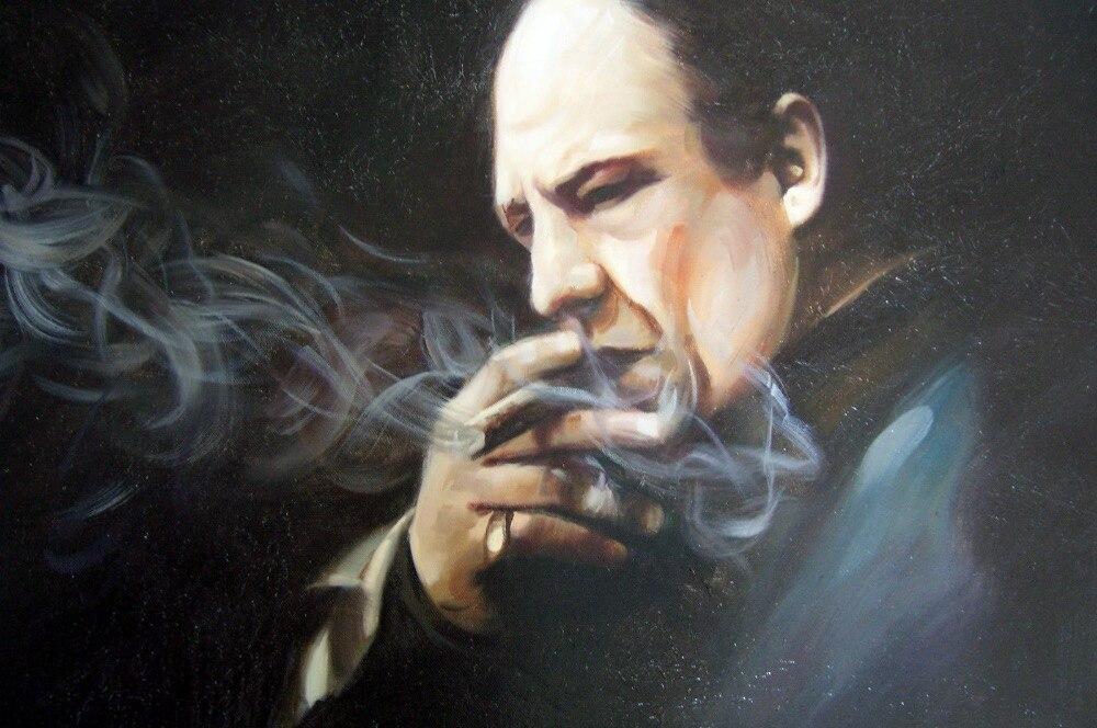Tony Soprano oil painting 28x16 unframed Sopranos Godfather Goodfellas Scarface